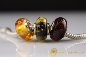 Lot of 3 Genuine BALTIC AMBER Bead fits to PANDORA & TROLL Bracelet