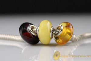 Lot of 3 Genuine BALTIC AMBER Bead fits to PANDORA & TROLL Bracelet