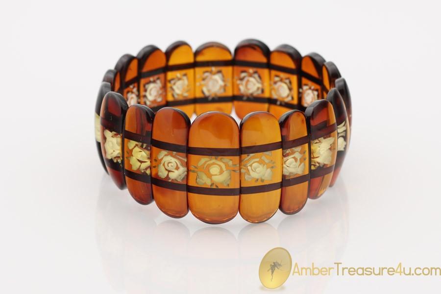 Excellent Large Carved Genuine BALTIC AMBER Stretch Bracelet