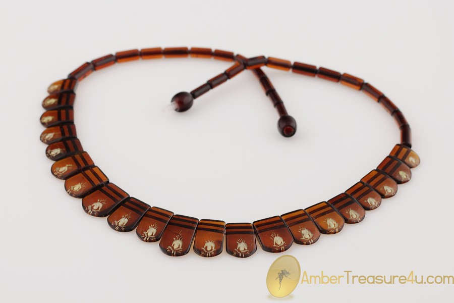 Excellent Carved Genuine BALTIC AMBER Choker