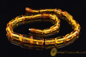 VINTAGE Large Honey Cylinders Genuine BALTIC AMBER Necklace
