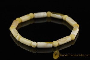 White Color Beads Genuine BALTIC AMBER Stretch Bracelet