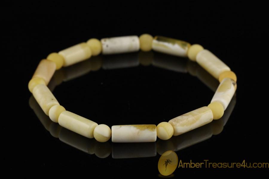 White Color Beads Genuine BALTIC AMBER Stretch Bracelet