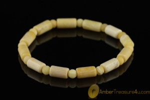 Butterscotch & White Beads Genuine BALTIC AMBER Stretch Bracelet