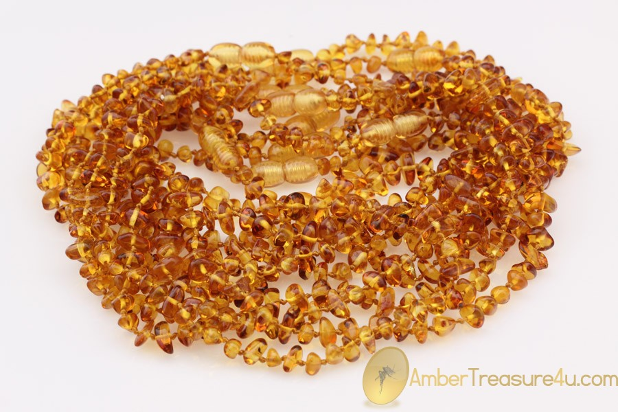 Lot of 10 Honey Color Baby Teething BALTIC AMBER Necklaces