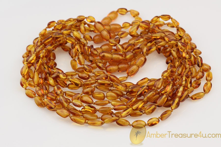 Lot of 10 Baby Teething Flat Olive Shape BALTIC AMBER Necklaces