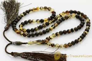 Islamic 99 Prayer Round Beads 6mm Genuine BALTIC AMBER m34