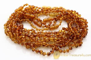 Lot of 10 Baroque Baby Teething Genuine BALTIC AMBER Knotted Necklaces btw44