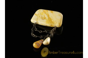ANTIQUE Butter & White Color BALTIC AMBER Brooch abo3