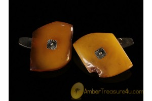 ANTIQUE Butterscotch Genuine BALTIC AMBER Cufflinks acf1