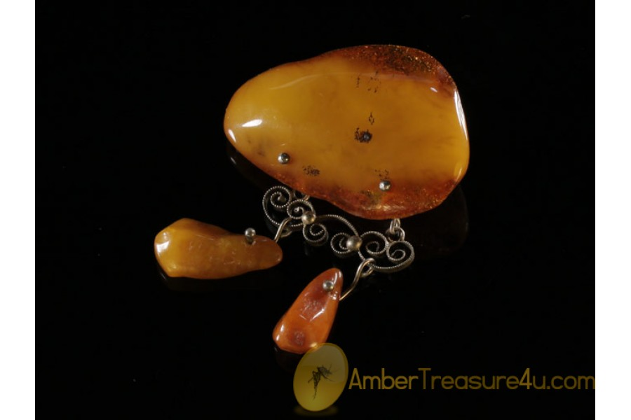 ANTIQUE Butterscotch Genuine BALTIC AMBER Brooch abo4