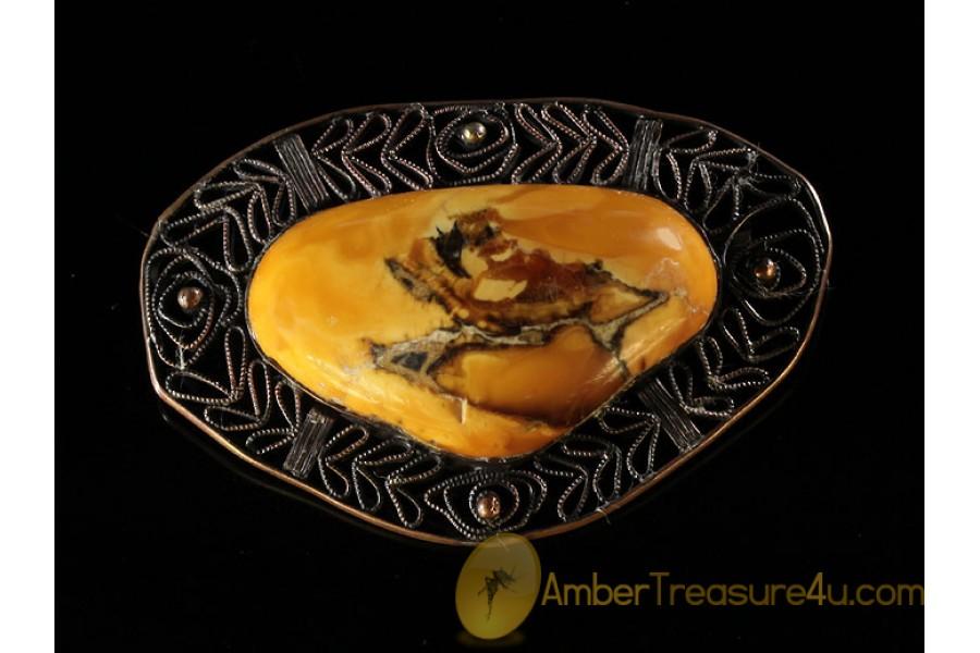 ANTIQUE Butterscotch Artisan BALTIC AMBER Huge Brooch abo6