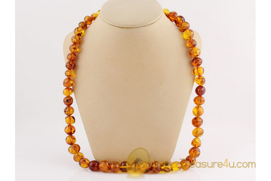 ANTIQUE Large Baroque Beads BALTIC AMBER Necklace an3