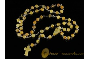 BALTIC AMBER Catholic Rosary of Round Beads cr3
