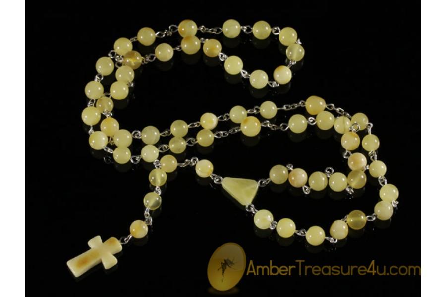 BALTIC AMBER Catholic Rosary of Round Beads cr4