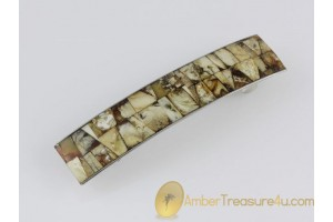 Barrette with Unique Color Mosaic of Genuine BALTIC AMBER