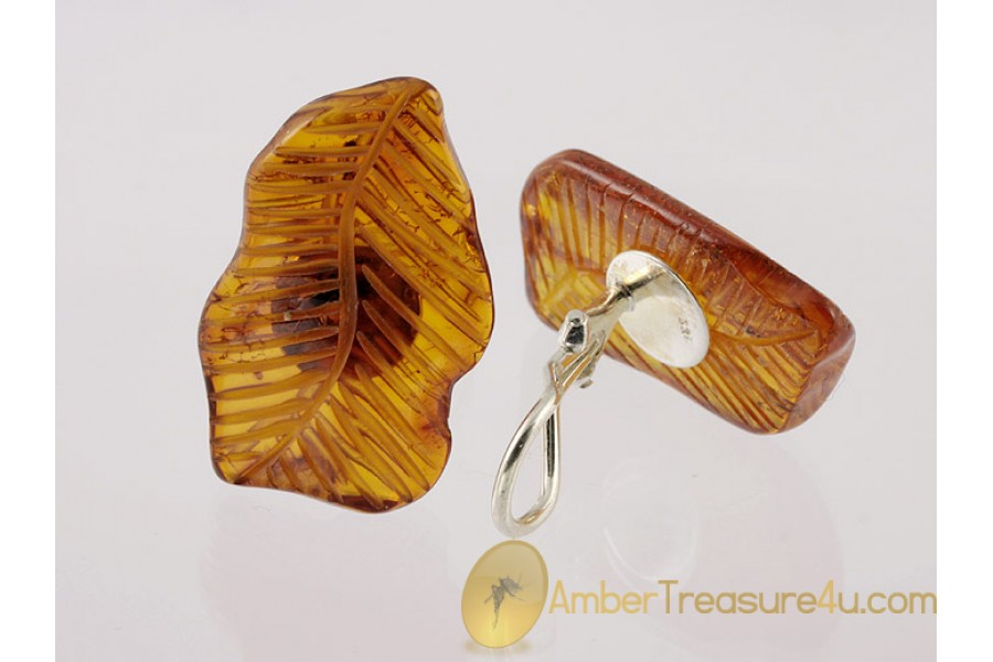 Carved Genuine BALTIC AMBER Silver Clip-on Earrings
