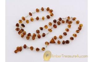 Catholic Rosary Genuine Cognac Color BALTIC AMBER cr1