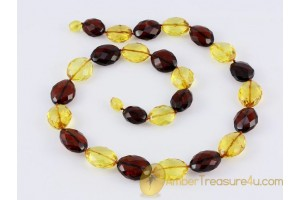 Faceted Cherry & Honey Beads Genuine BALTIC AMBER Necklace 21