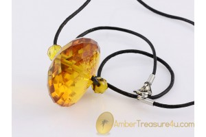 Faceted Honey Bead Genuine BALTIC AMBER Pendant - Leather 19