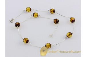 Faceted Round beads on Silver BALTIC AMBER Necklace 16