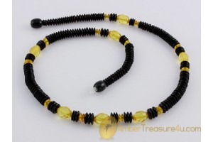 Faceted & Cherry Beads Genuine BALTIC AMBER Necklace 18