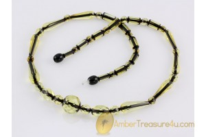 Faceted greenish beads Genuine BALTIC AMBER Necklace 20