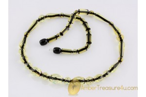Faceted greenish beads Genuine BALTIC AMBER Necklace 18