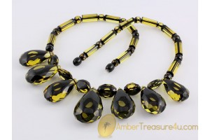 Faceted huge greenish beads Genuine BALTIC AMBER Necklace 20