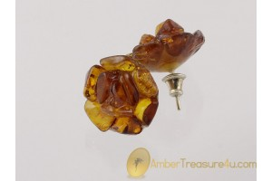 Flowers Genuine BALTIC AMBER Silver Earrings