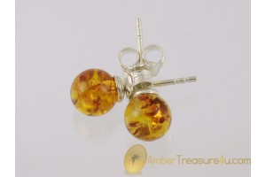 Glittering Spheres Genuine BALTIC AMBER Silver Earrings