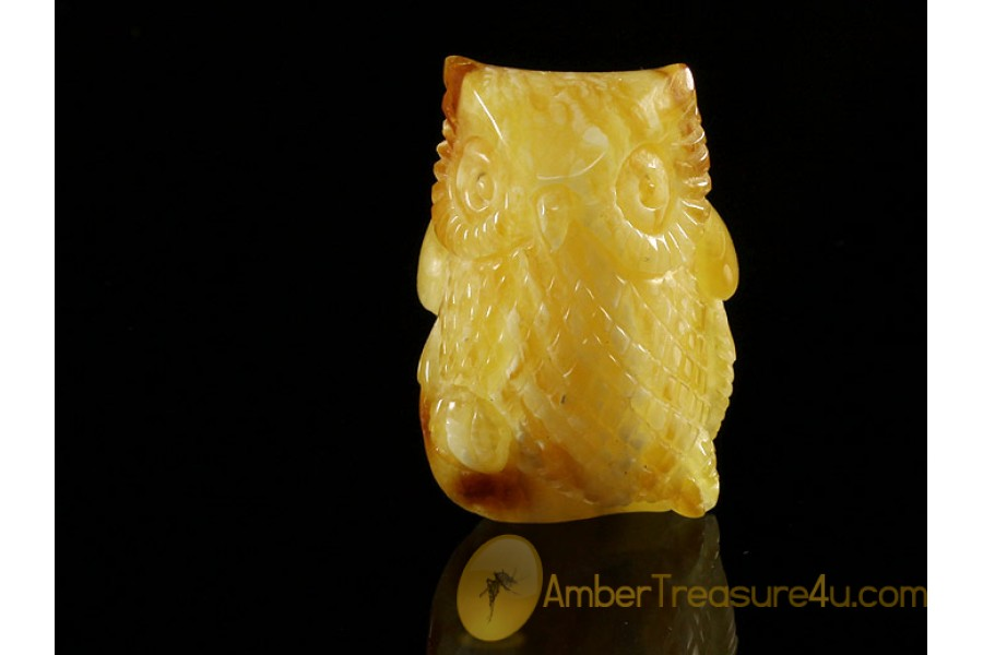 Hand Carved Genuine BALTIC AMBER OWL Statuette f5