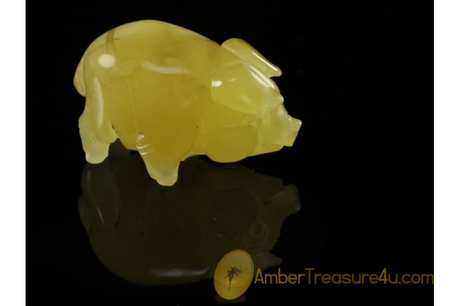 Hand Carved Genuine BALTIC AMBER PIGLET Statuette f6