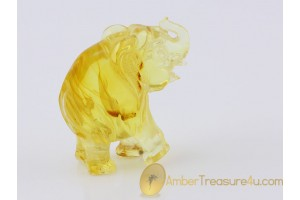 Hand Carved Genuine BALTIC AMBER Large ELEPHANT Statuette f7
