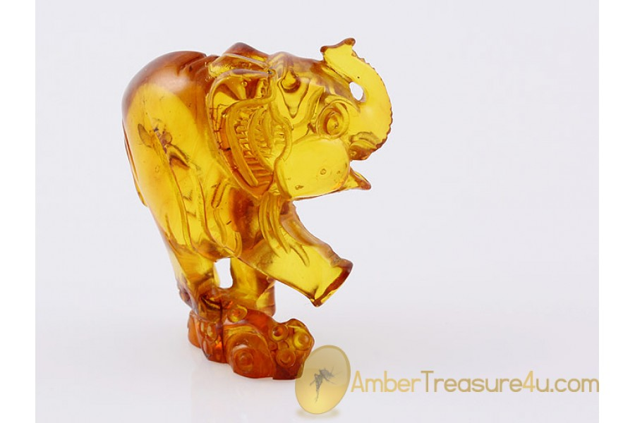Hand Carved Genuine BALTIC AMBER Large ELEPHANT Statuette f8