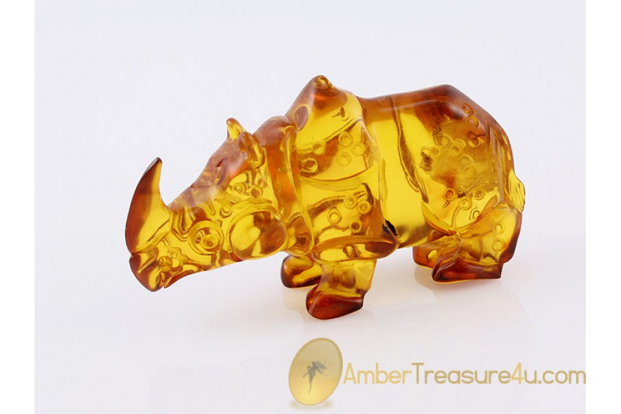 Hand Carved Genuine BALTIC AMBER Large RHINOCEROS Statuette f9
