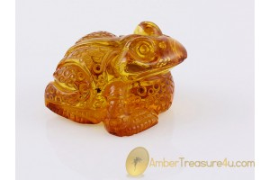 Hand Carved Genuine BALTIC AMBER - Large FROG Statuette f10