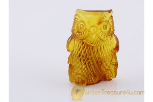 Hand Carved Genuine BALTIC AMBER Large OWL Statuette f11