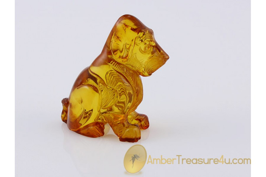 Hand Carved Genuine BALTIC AMBER DOG Statuette f12