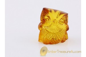 Hand Carved Genuine BALTIC AMBER OWL Statuette f13