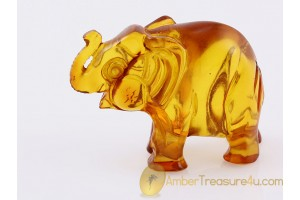 Hand Carved Genuine BALTIC AMBER ELEPHANT Statuette f14