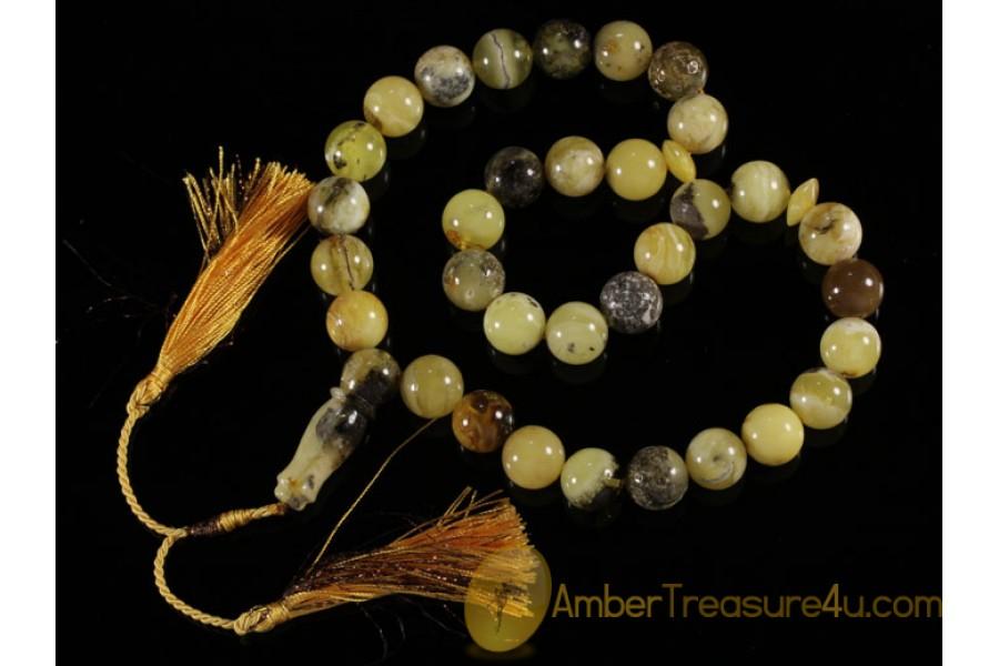 Islamic 33 Prayer Beads round 14mm Genuine BALTIC AMBER m22