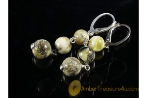 Unique Color Round Beads BALTIC AMBER Silver Earrings